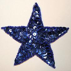 PALJETTSTJÄRNA - blå 9 cm