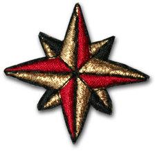 Dubbelstjärna - guld/röd/svart