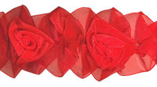 BAND m. organzarosor - röd