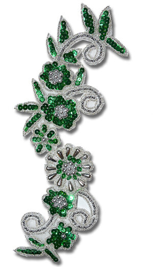PALJETTBLOMMOR - grön/silver