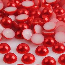 HALVPÄRLA - röd 10 mm