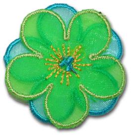 Blomma - grön/blå